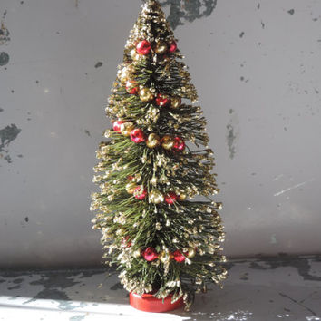 Vintage Bottle Brush Christmas Tree Holiday Decor Gold Frosted Tree featuring Beaded Mercury Glass Garland