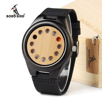 BOBO BIRD New Design 12 Wholes Leather Band Casual Unique Wooden Quartz Watch Without Second Hand