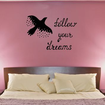 Wall Decal Bird Quote Flight Follow Your Dreams Stars Vinyl Sticker (ed1124)