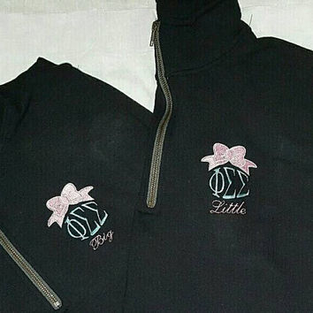 Monogrammed Quarter Zip Sweatshirt - Pullover - Initials or Greek letters. Sorority - Boutique