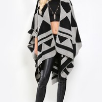 Striped Geometric Poncho