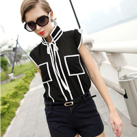 Black Sleeveless Blouse with Pocket