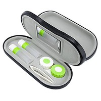 ROSENICE Contact Lenses 2-in-1 Eyeglass and Contact Lens Case Double Use Portable for Home Travel Kit (Black)
