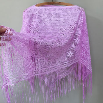 Vintage Fringed Poncho, Light Purple Poncho, Open Weave Poncho See Through Fringe Shawl Purple Wrap Shawl Lace Poncho Elegant Vintage Poncho