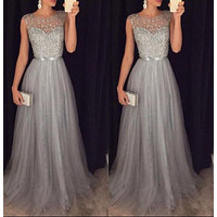 2018 new Women sleeveless sequins Formal Wedding Bridesmaid elegant female Long Party Ball Prom Gown voile long Dresses