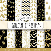 Gold Christmas Digital Paper. Gold Glitter Snowflake, Deer, Chevron, Wreath, Stars. Black, White & Gold Christmas Holiday Scrapbook Paper.