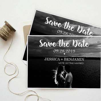 Save The Date Photo Postcard, Brush Calligraphy Script & Heart Line, Printable Photo Save the Date Card, Custom Save the Date, DIY Printable