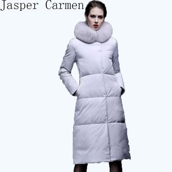 free shipping 2016 new arrival women long style down jacket coat for winter super keep warm plus size S-2XL 230
