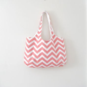Coral Chevron Tote, Coral Chevron Tote Bag, Chevron Slouchy Bag, Beach Bag, Gym Bag, Chevron Purse, Ready to Ship