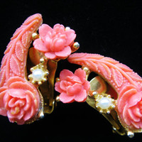 Vintage Celluloid Rose Pearl Earrings Carved 1950s Art Deco Coral Clip On Flower Trendy Fashion Jewelry E8