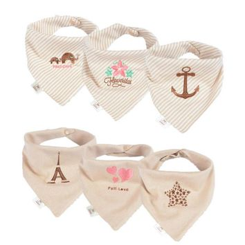 Baby Infant Toddler Cotton Triangle Bibs with Pacifier Clip