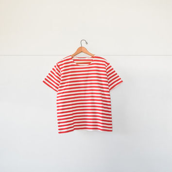 RED STRIPED TEE // size womens x large // 90s // t-shirt // minimal // stripes // boxy // minimalist // vintage!