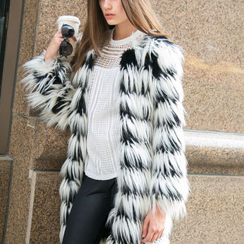 Black And White Stripes Fox Faux Fur Tassels Coat