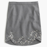 J.Crew Womens Collection Jeweled Mini Skirt In Double-Serge Wool