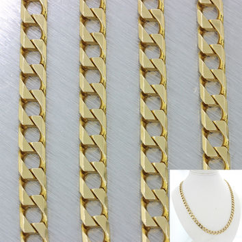 Modern Italy 14k Solid Yellow Gold Square Curb Cuban 6mm Necklace Chain 40g