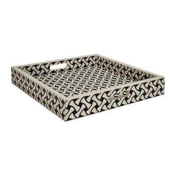 Worlds Away Black and White Weave Pattern Tray