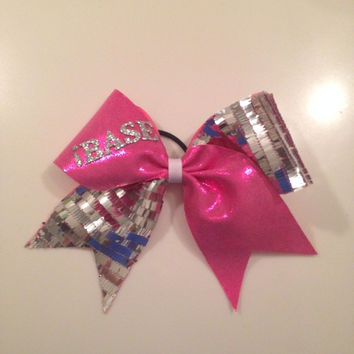 Pink/Silver Sequin Breast Cancer Awareness Bow by MyWildBows