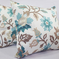 Blue and Brown Pillow Covers - 2 16 Inch Floral Throw Pillow Covers - Blue Decorative Pillow Covers - Blue Couch Pillows - Blue Pillows