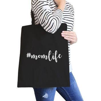 Momlife Black Canvas Diaper Bag Simple Lettering Gifts For New Moms