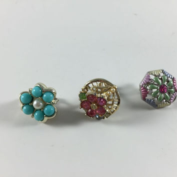 Vintage Retro Costume Jewelry Pink Rhinestone Faux Pearl Turquoise Clip On Earrings Mixed Lot One Of Each For Crafts Or Repurpose