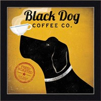 Black Dog Coffee Co by Ryan Fowler Labrador Coffee Cup Framed Art Print Picture Wall Décor