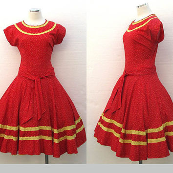 Vintage 50s Cordette Dress / Red Dress / Rockabilly / Mad Men / Novelty Print / Rickrack Floral Dress / Full Skirt / 50s Dress / Size S/M