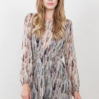 Rea Long Sleeve Feather Print Dress
