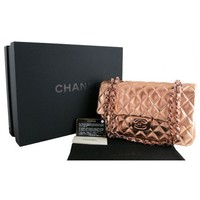 Chanel 2008 Tokyo Mobile Art Autographed Rose Gold 10inch Medium 2.55 Classic Double Flap Bag, Rare