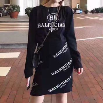 ONETOW Balenciaga' Fashion Casual Letter Print Long Sleeve T-shirt Knit Short Skirt Se