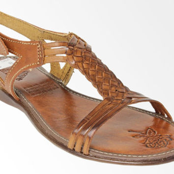 Genuine Leather Sandals Handmade Brown T-Strap Sandals Flip Flops