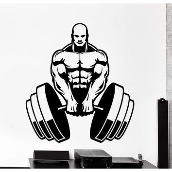 Wall Vinyl Decal Bodybuilding Sport Bodybuilder Barbell Home Interior Decor Unique Gift z4148