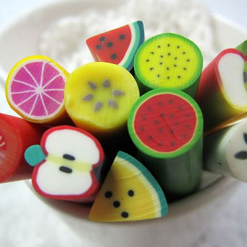 $5.60 8 ps Japanese  BIG Polymer Clay Cane Fruit