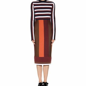 Striped wool-blend dress