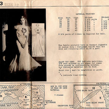 Hollywood Starlet Movie Glamour Formal Gown 1930s Sewing Pattern Mail Order Ruffle Shawl Neckline Elegant Dress Bust 30