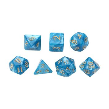 Funny Dices 7x Blue 16mm Polyhedral Dice for Dungeons and Dragons Dice DND RPG Games Tool Dices
