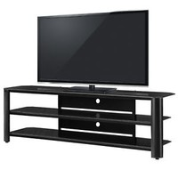 "Black TV Entertainment Stand Innovex Fold N Snap Oxford 65"" Glass FREE SHIPPING"