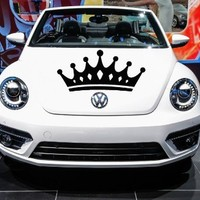 Auto Car Vinyl Decal Princess King Crown for Hood Decor Removable Stylish Sticker Unique Design Any Vehicle