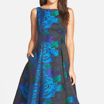 Women's Adrianna Papell Jacquard Tea Length Fit & Flare Dress