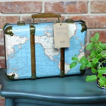 Vintage World Map Suitcase