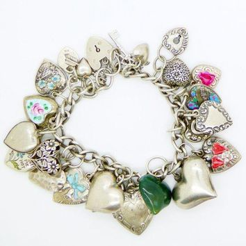 Vintage Puffy Hearts Sterling Silver Charm Bracelet