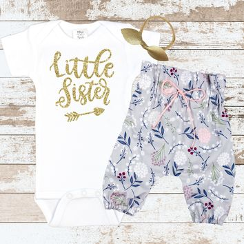 Gold Little Sister Newborn outfit
