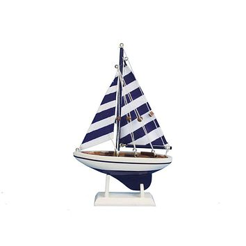 Wooden Blue Striped Pacific Sailer Model Sailboat Decoration 9""