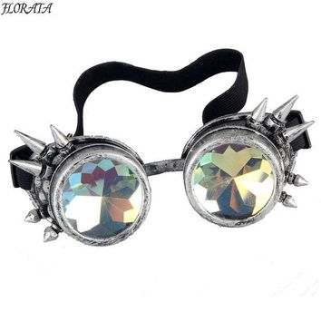 VONEGQ New Multicolor Victorian Steampunk Goggle Glasses Welding Cyber Punk Spiked Gothic Cosplay