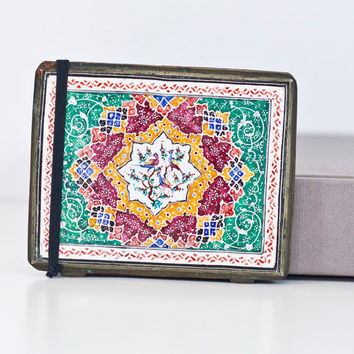 Persian Art Compact Case / Metal Wallet: Vintage Cigarette Box Persian Decorative Pattern, Islamic Enameled Metal Box, Money Clip / Holder