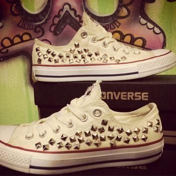 custom studded buttercream converse all star chuck taylors all sizes colors