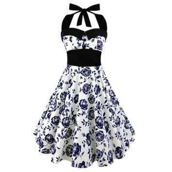Large Size Printed Dress Women Punk Strapless Halter Party Dresses Bowknot Self Gothic Dress Clothing