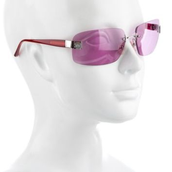 Chanel Pink Red Gray Silver 4026 Cc Logo Rose Tinted Aviators Rimless Frameless Sunglasses 46% off retail
