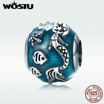 WOSTU New Real 925 Sterling Silver Romantic Sea Blue Mermaid Bead fit Original DIY Bracelet Necklace Jewelry Making Gift DXC819
