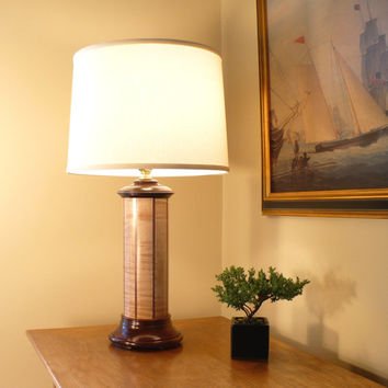 Custom Table Lamp Black Walnut Curly Maple, Made to Order