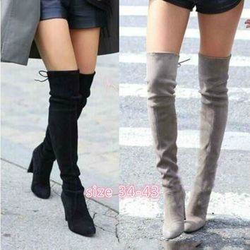 New Women Stretch Slim Thigh High Boots Sexy Fashion Over The Knee High Heels (Size 34-43 Red Black,Grey)